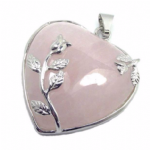 Rose Quartz Heart and Rose Pendant..  EB-1